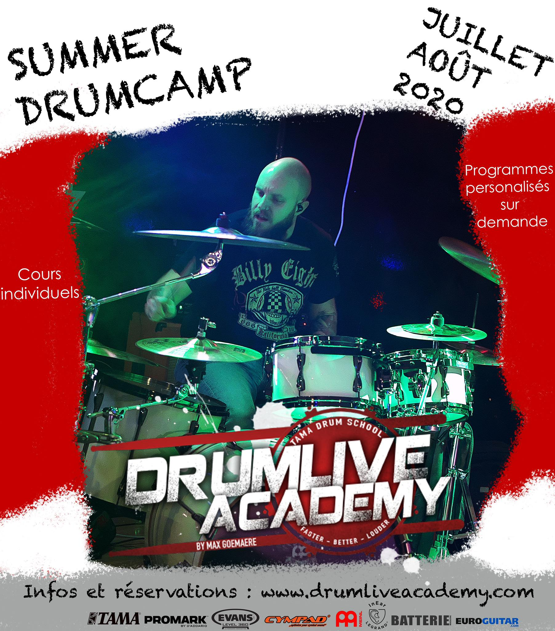 Summer Drum Camp 2020, Stage intensif de batterie, en cours individuels.